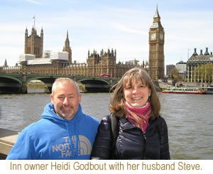 Inn owner Heidi Godbout with her husband Steve.